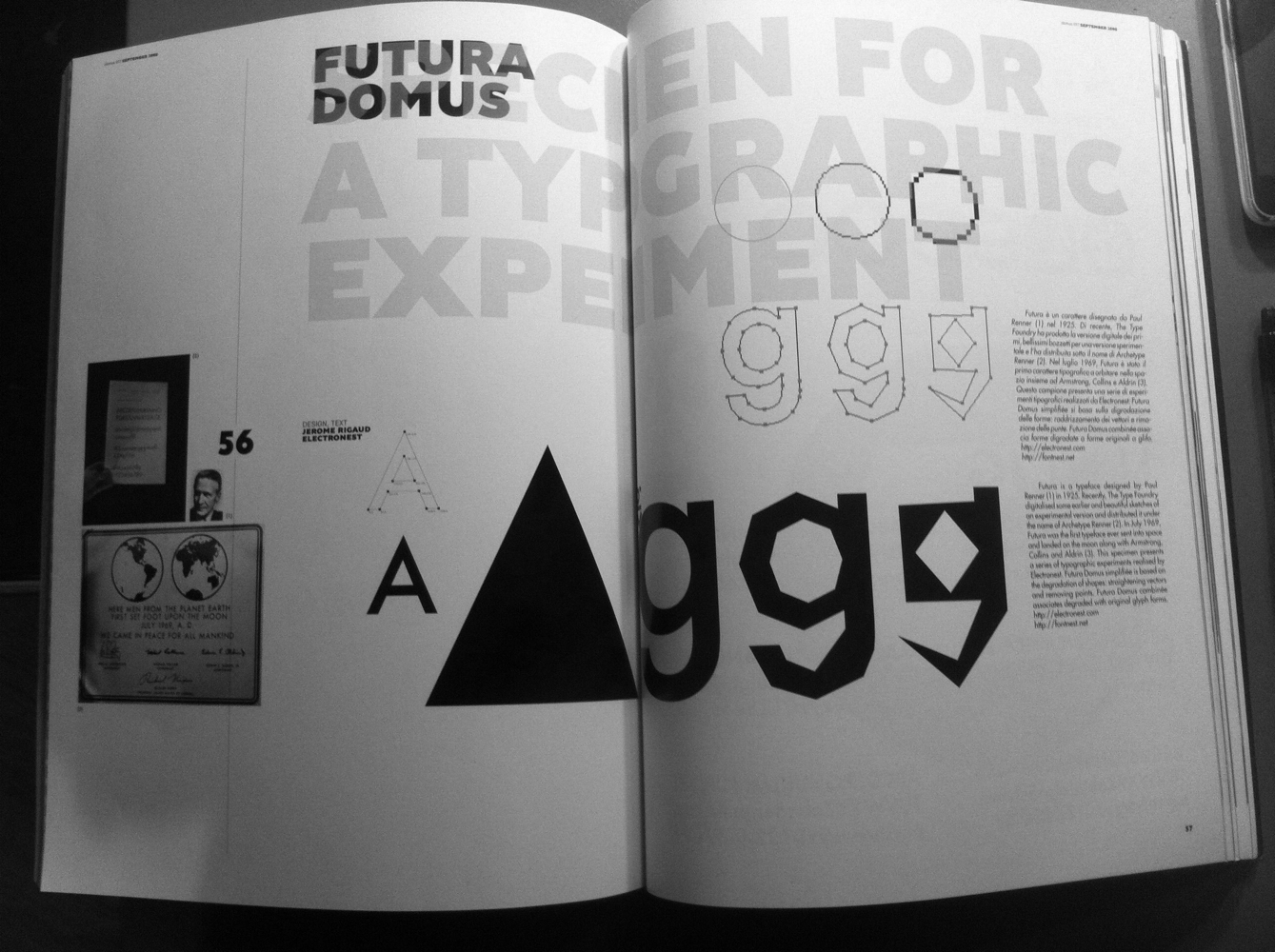 Domus Futura, typeface commissioned for the architecture magazine Domus
